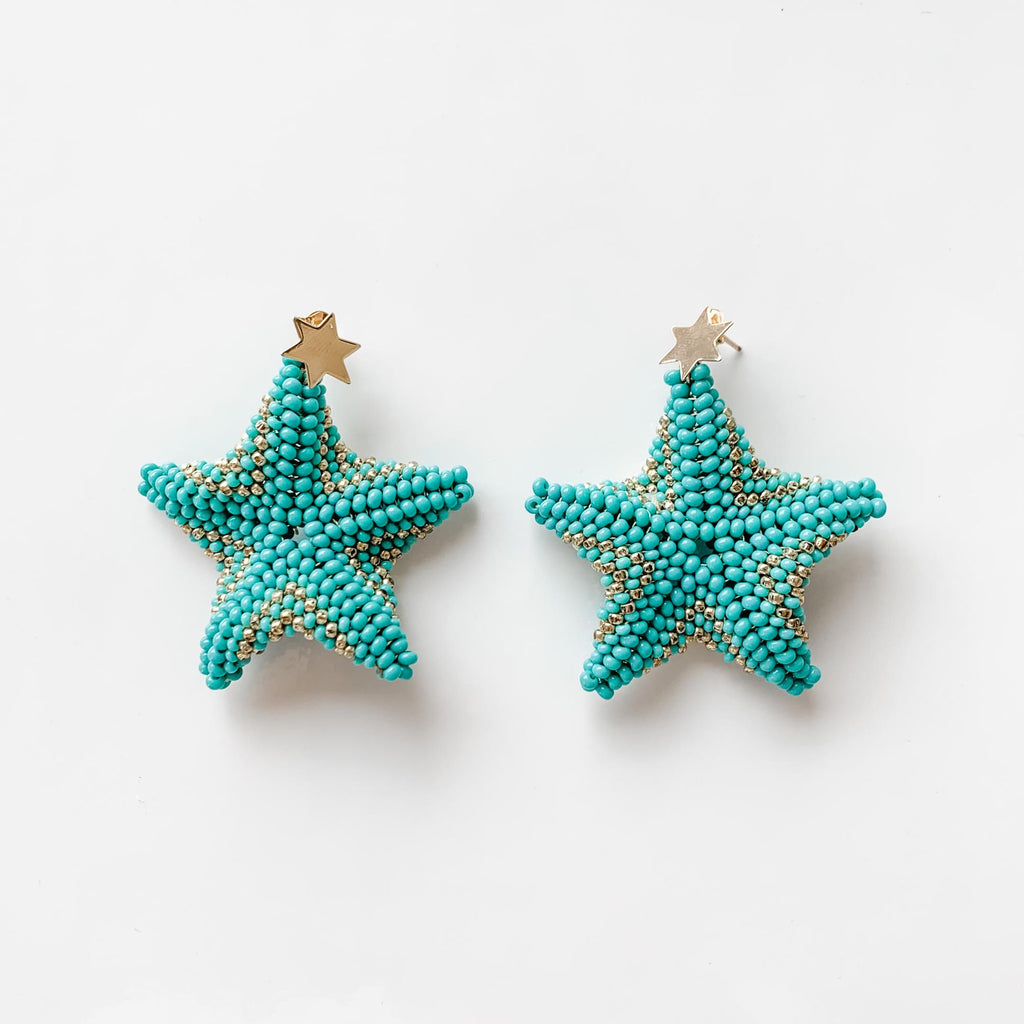 Starfish Drop Earrings in Turquoise