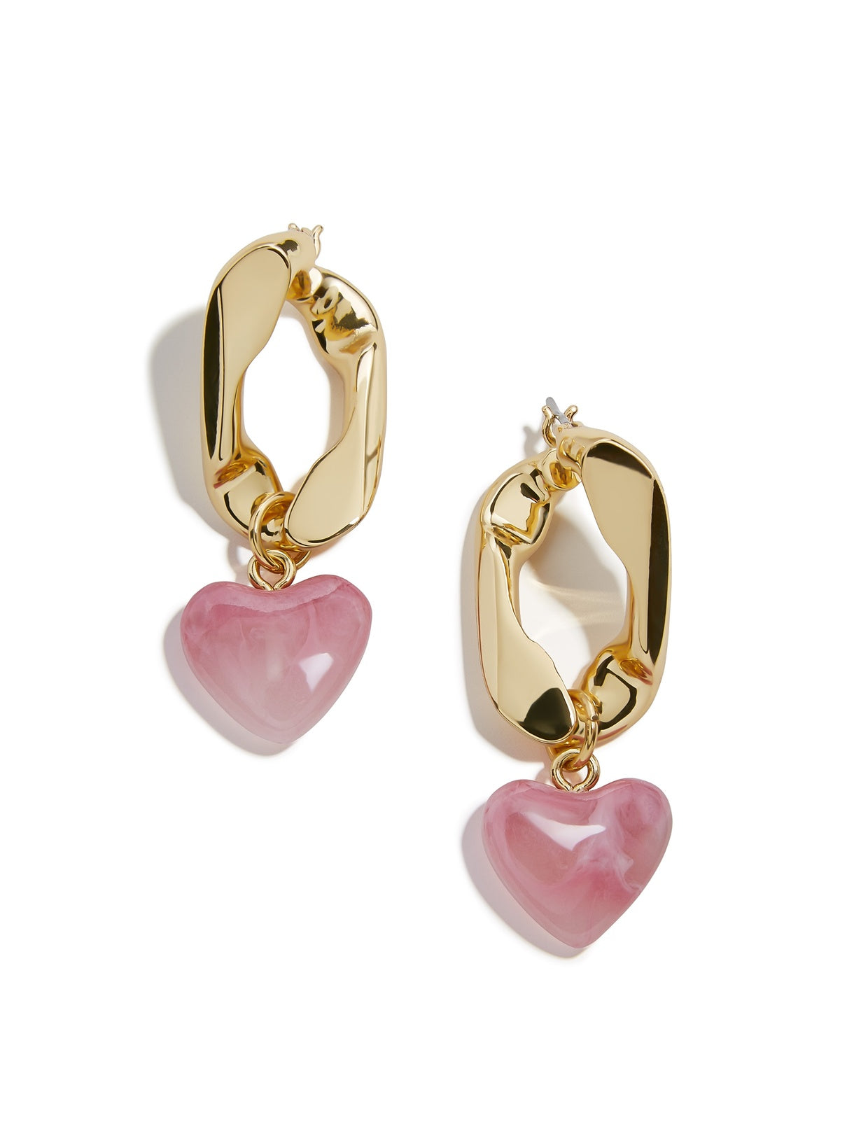 Link with Heart Charm Drop Earrings