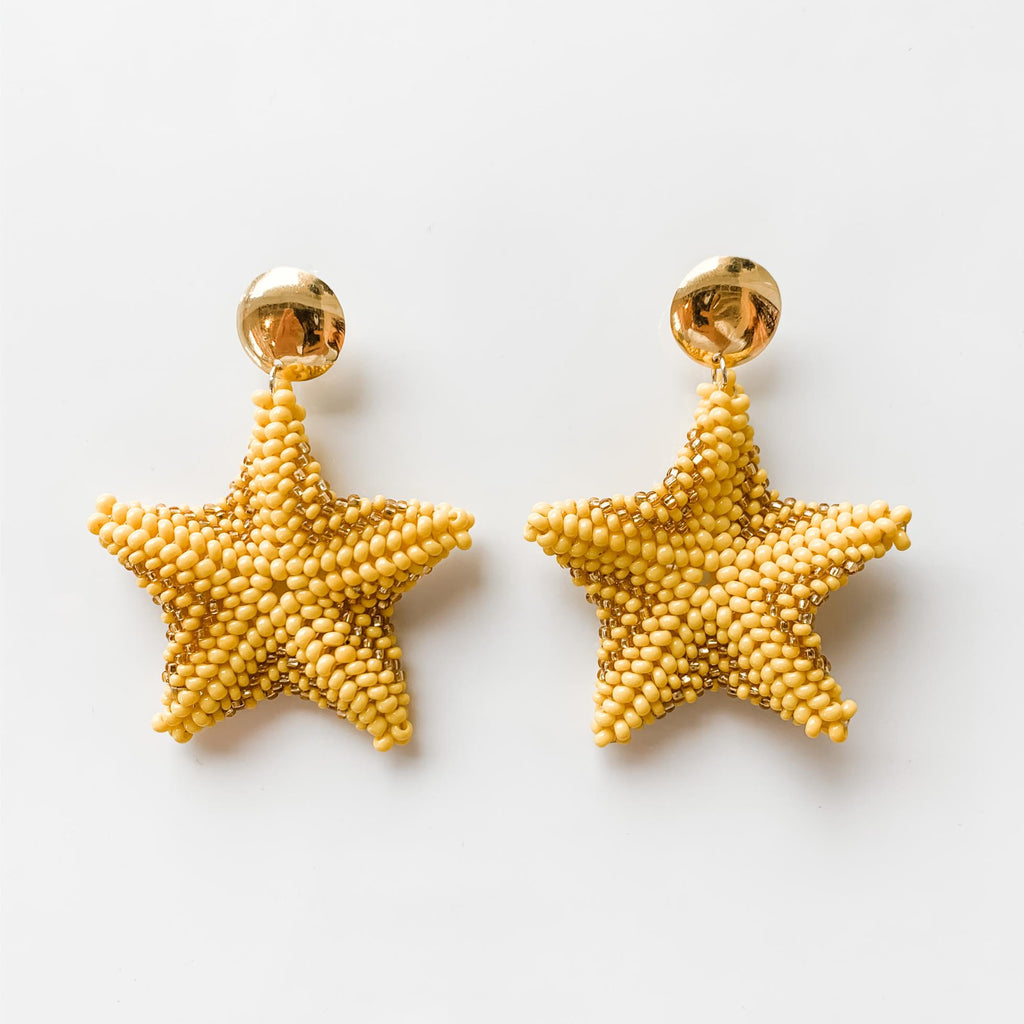 Starfish Drop Earrings in Yellow