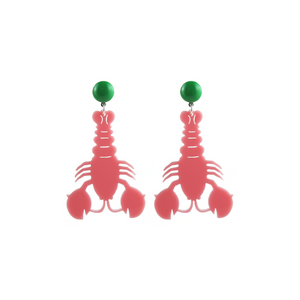 Pink Acrylic Lobster Earrings