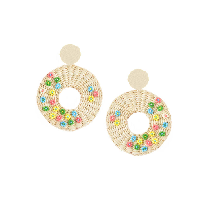 Flower Disk Earring in Beige