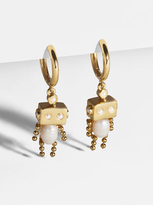 Huggie Earring with Robot Charm in Ivory