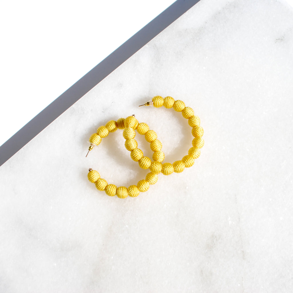 Yellow Thread Ball Hoop Earring