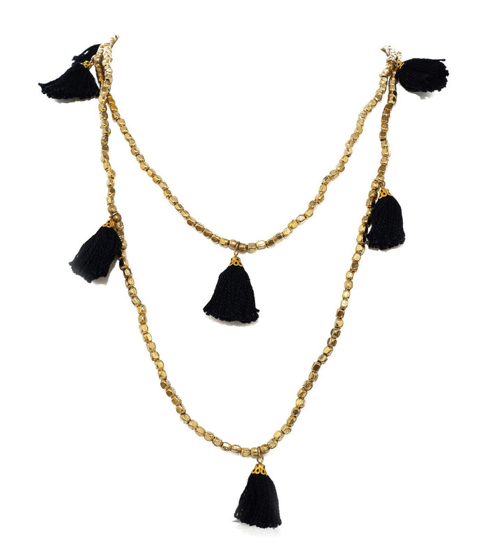 Black Gold Tassel Necklace