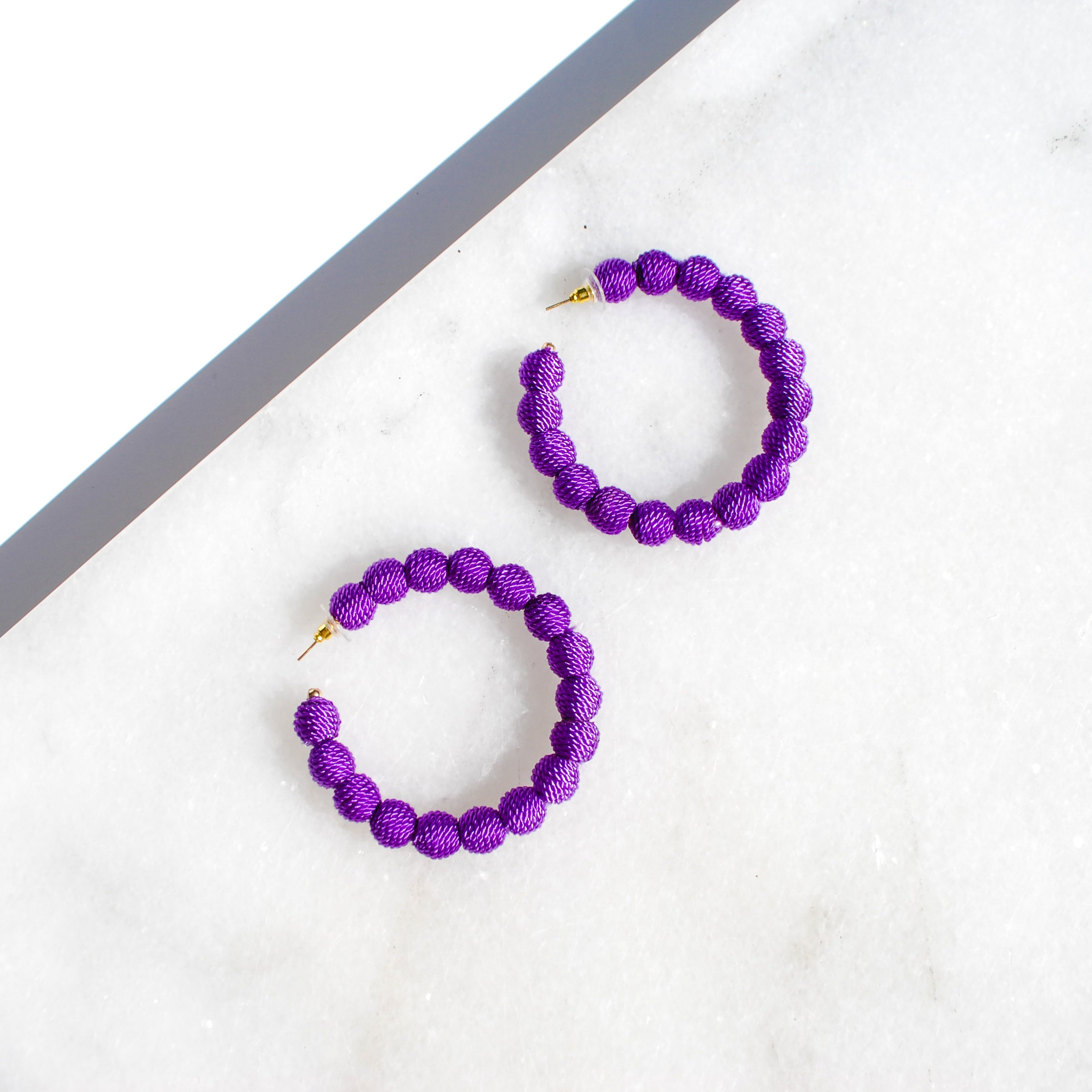 Purple Thread Ball Hoop Earring