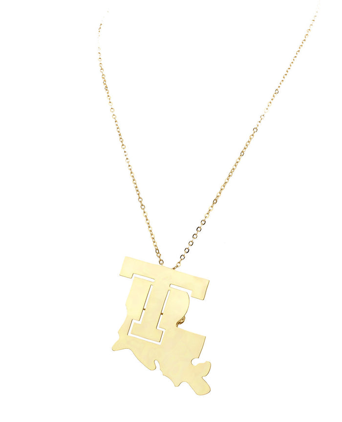 Louisiana Tech Necklace/Broach Combo Gold