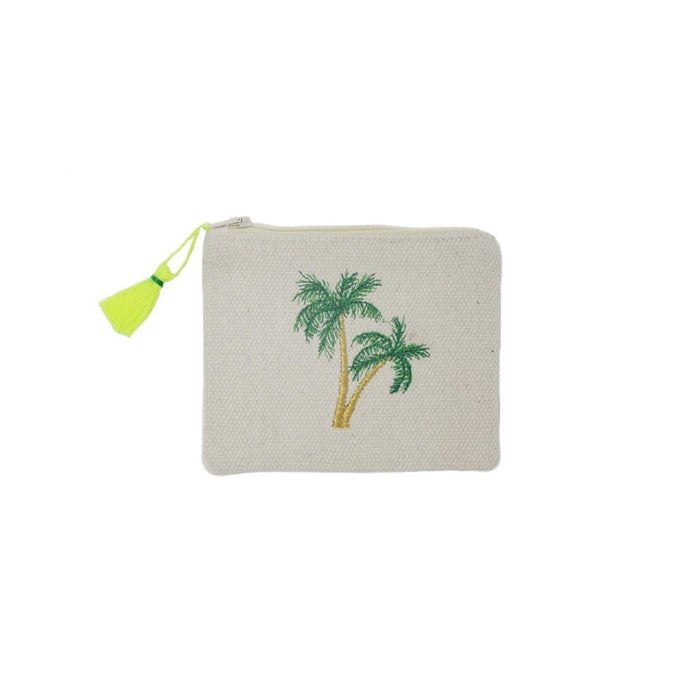 Porto Embroidered Coin Purse Palm Tree