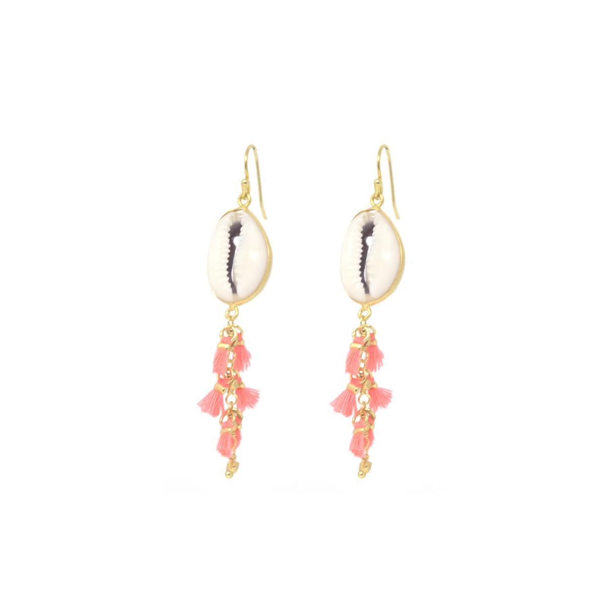Isla Shell + Tassel Earring in Coral
