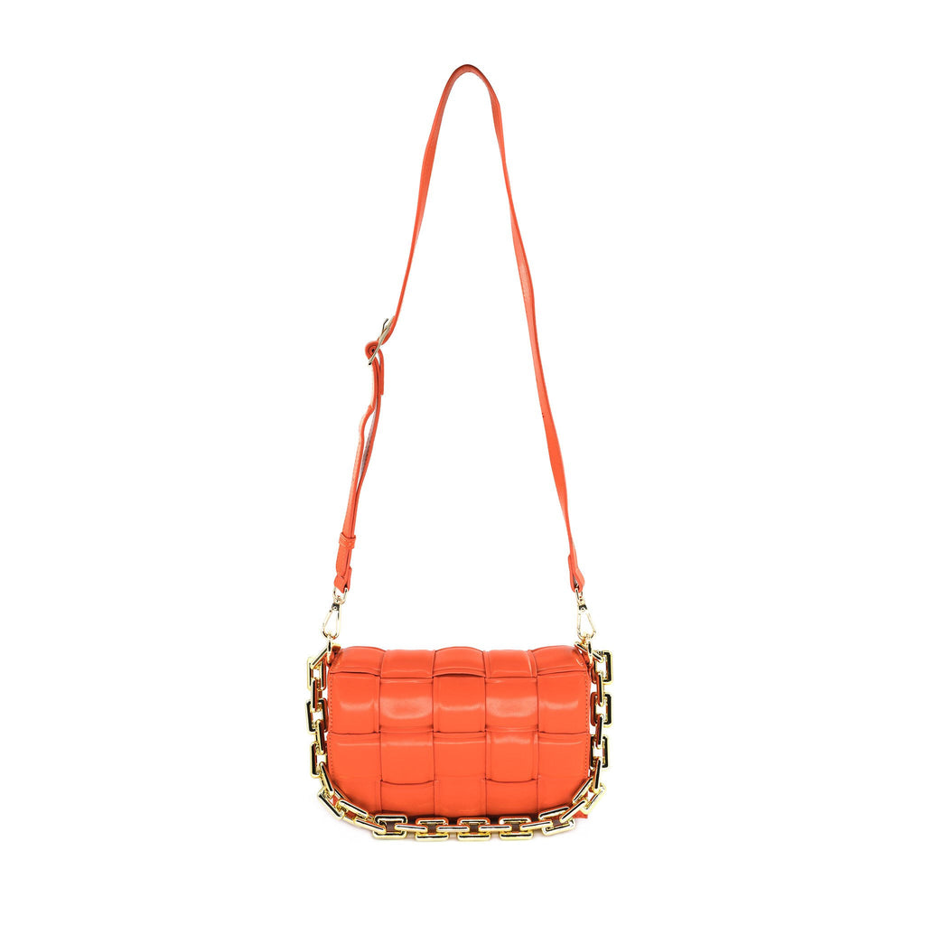 Woven Chain Link Bag in Orange