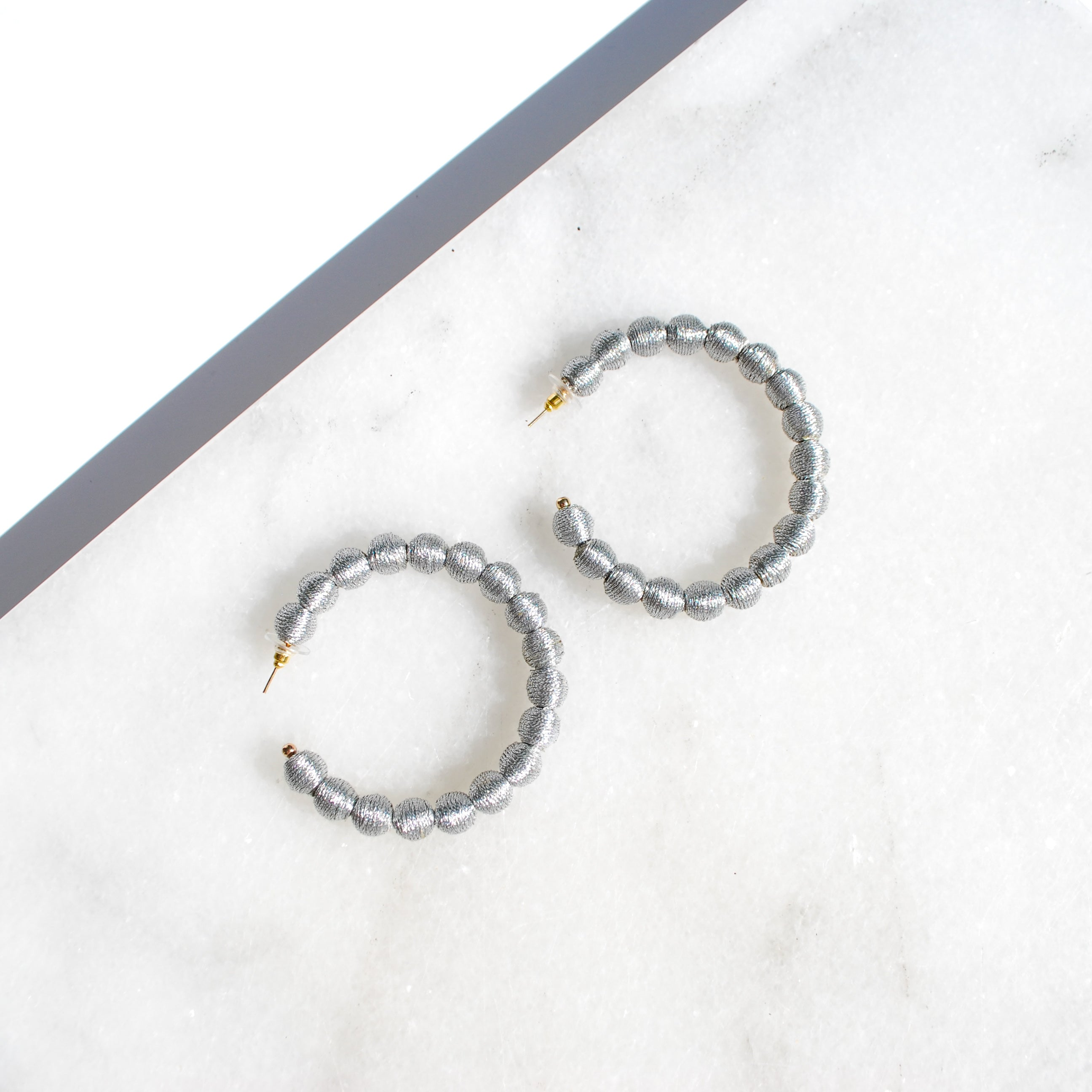 Silver Thread Ball Hoop Earring -Sale