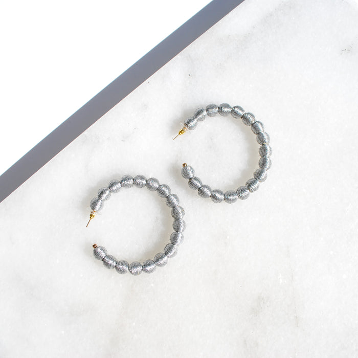 Silver Thread Ball Hoop Earring