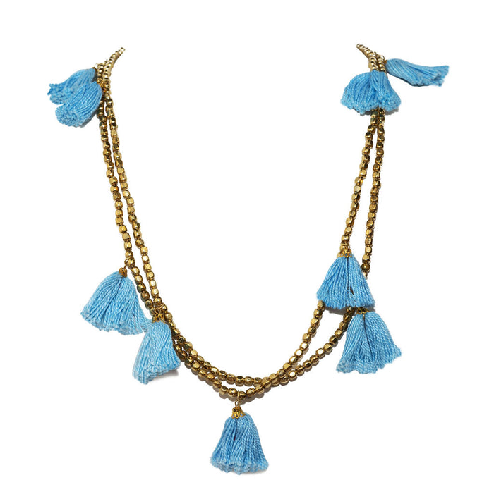 Baby Blue Gold Tassel Necklace