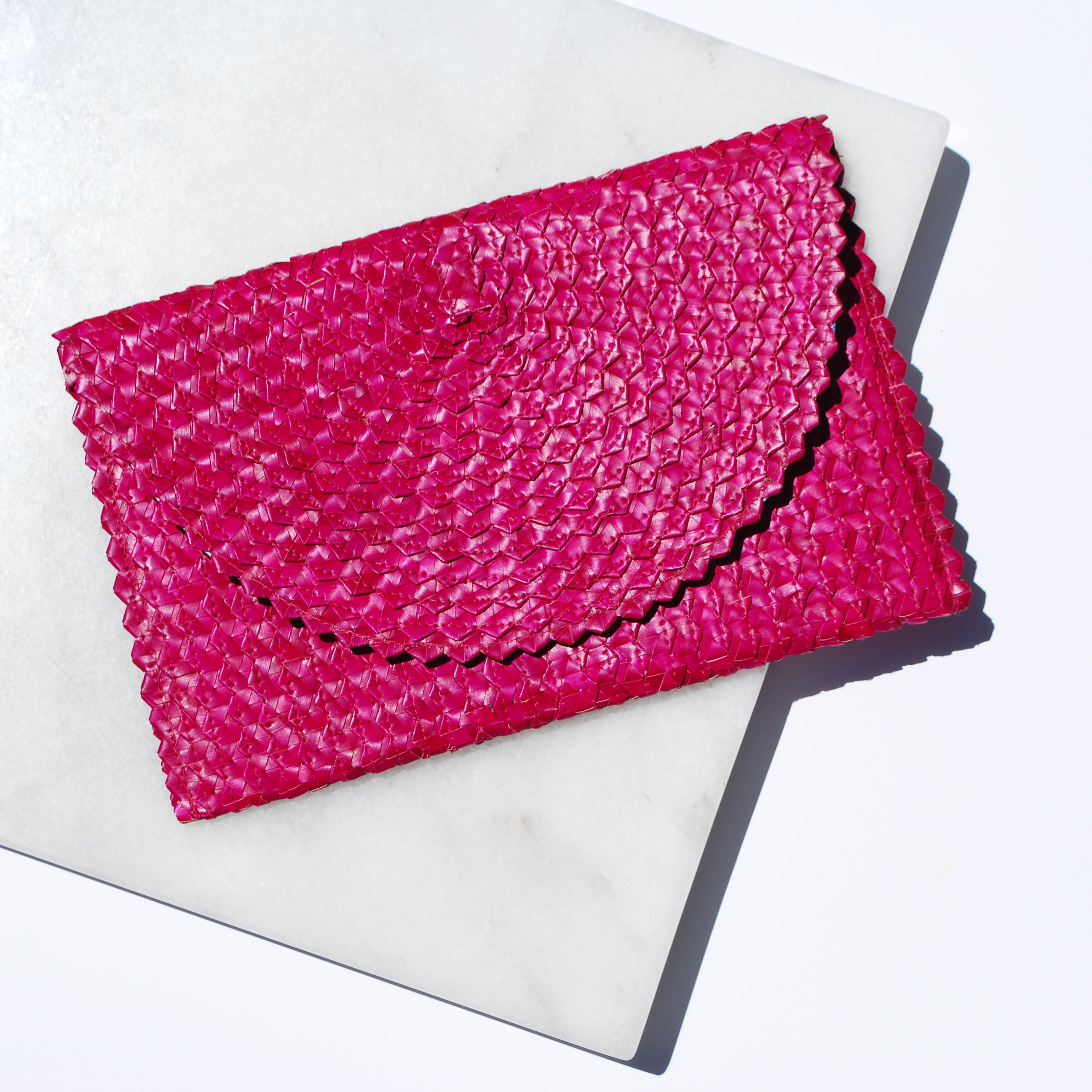 Madison Straw Clutch in Pink