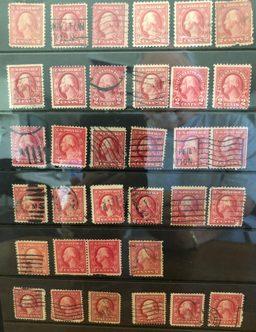 Stamps - USA - red 2-cent USED Singles, Various