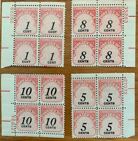 STAMPS - USA - Postage Due - Plate Blocks