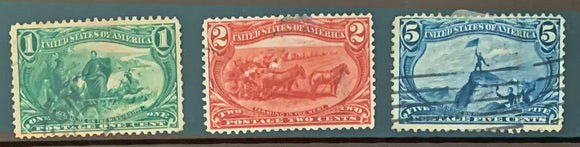 STAMPS - 1898 Trans Mississippi Exposition - Used 1c, 2c, 5c - set1
