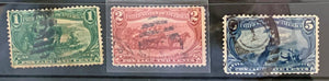 STAMPS - 1898 Trans Mississippi Exposition - Used 1c, 2c, 5c - set7
