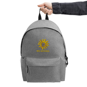 Bee Natural - Embroidered Simple Backpack - w/Wildflower
