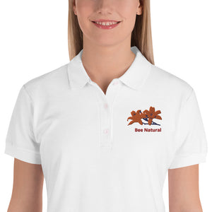 Bee Natural - Embroidered Women's Polo Shirt - w/Tiger Lily