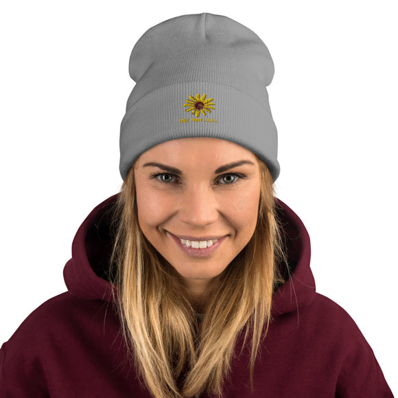 BEE NATURAL - Embroidered Beanie - w/Wildflower