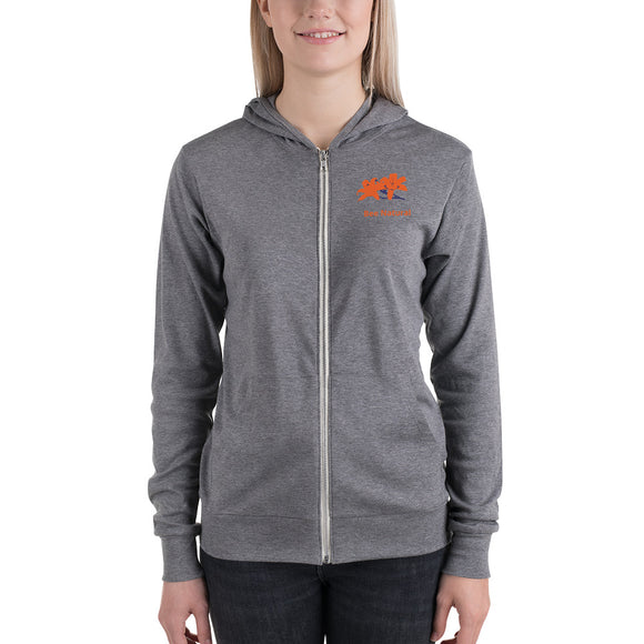 BEE NATURAL - Unisex lightweight zip hoodie - w/Tiger Lily