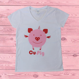 Cu-Pig (Women's V-Neck), Shirt, - Newtown Shirt Company