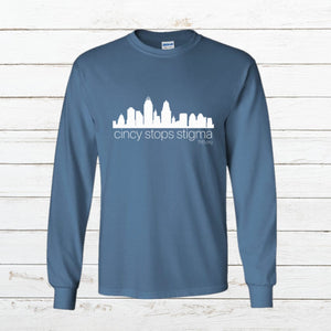 Cincy Stops Stigma - Long Sleeve, Shirt, - Newtown Shirt Company