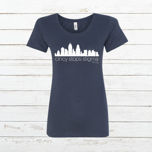 Cincy Stops Stigma - Women's Fitted, Shirt, - Newtown Shirt Company