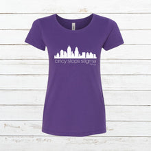 Load image into Gallery viewer, Cincy Stops Stigma - Women's Fitted, Shirt, - Newtown Shirt Company