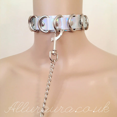 D Ring Choker & Lead Set (Iridescent)