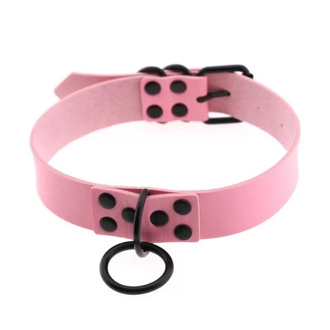 Black Ring Choker (Pink)