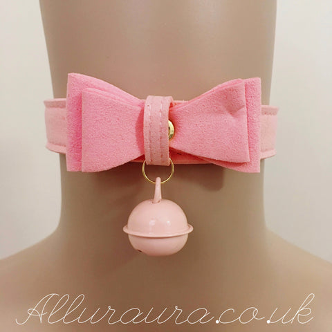 Suede Bow & Bell Choker (Pink)