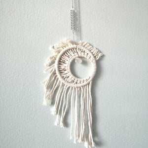 Macrame Crystal Moon w/ Silver Beads