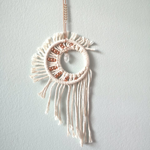 Macrame Crystal Moon w/ Copper Beads
