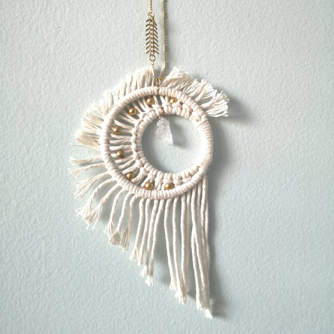 Macrame Crystal Moon w/ Gold Beads