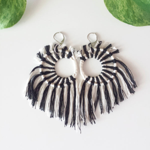 Striped Crescent Moon Earrings
