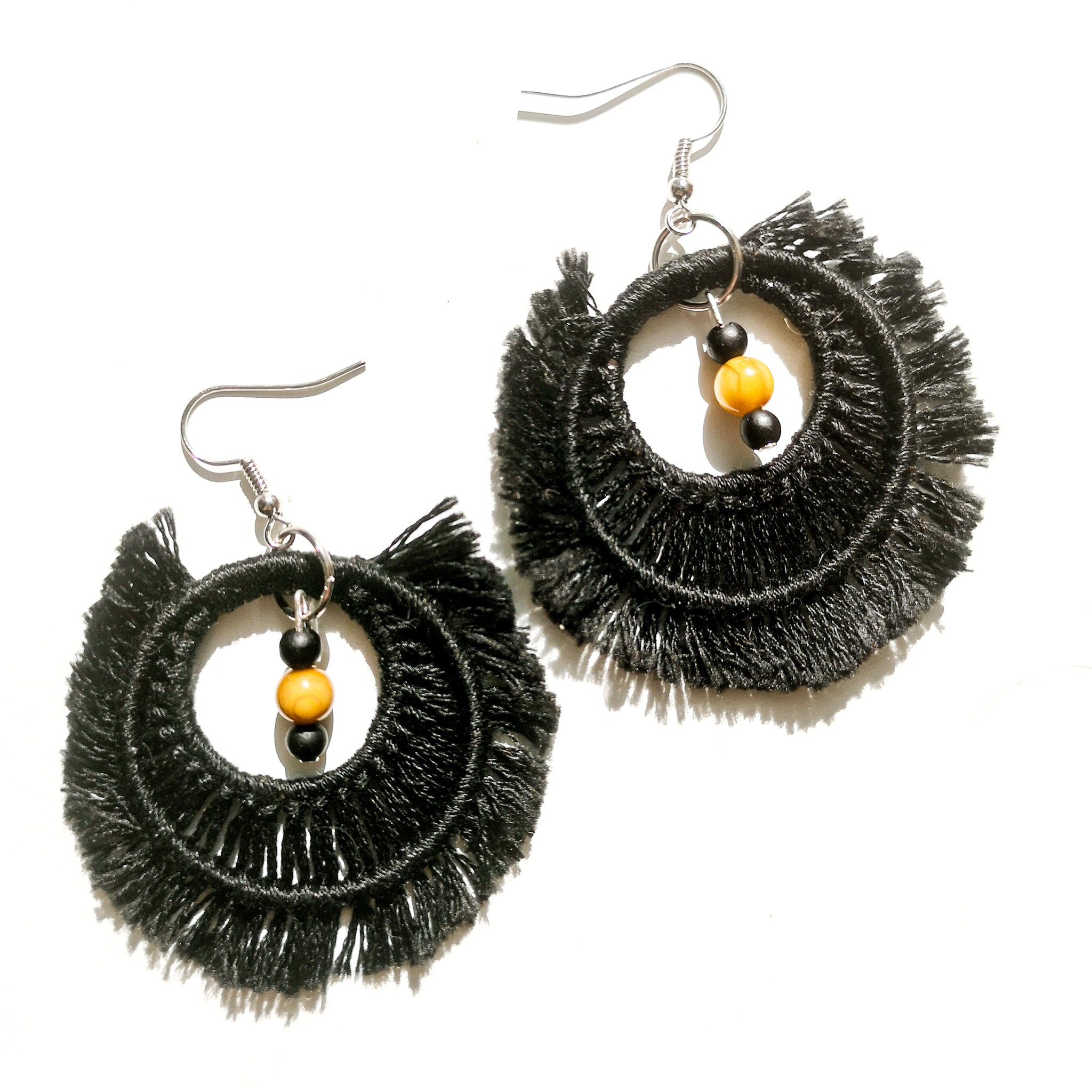 Black Macrame Hoop Earrings w/beads