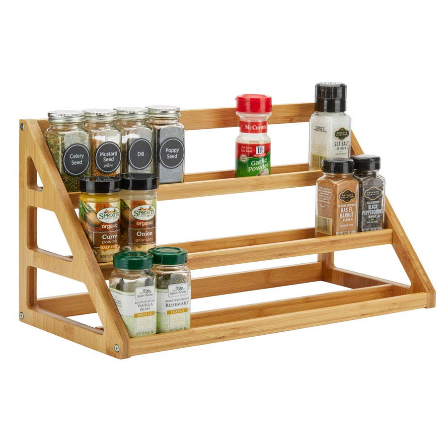 SpiceLuxe Bamboo Stadium Rack Beautiful Spice Organizer for Counter or Cabinets | Spice Jars Not Included