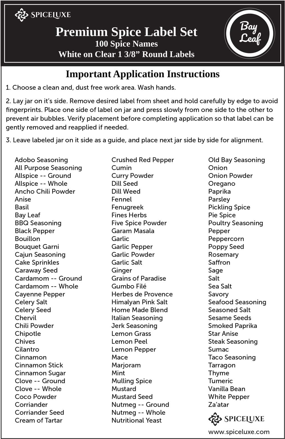 It's just an image of Unusual Spice List Printable