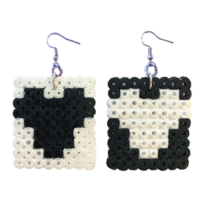 Earrings - Hearts - Black and White