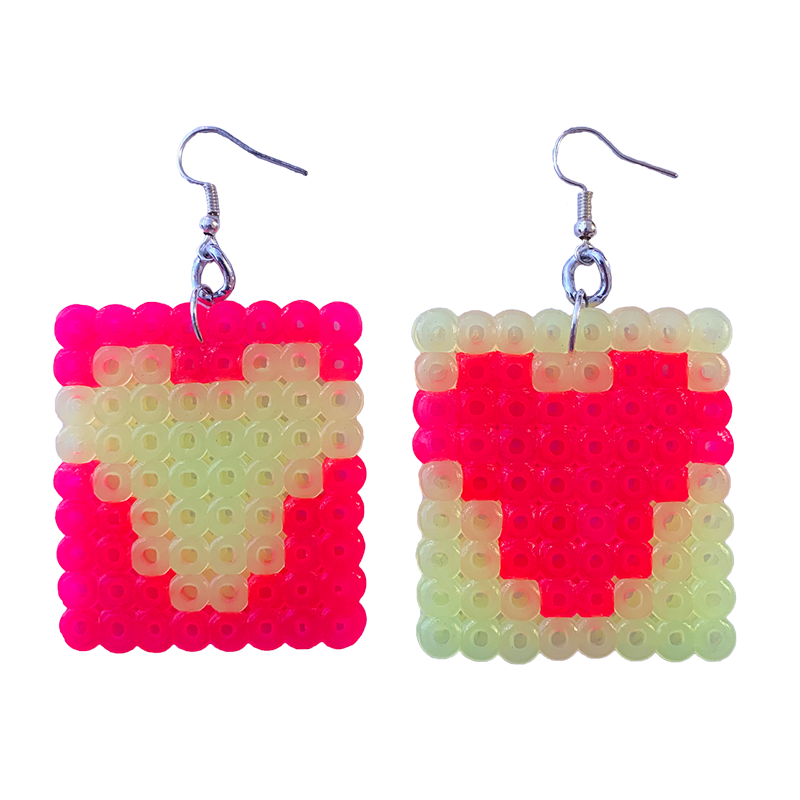 Earrings - Hearts - Pink and Yellow