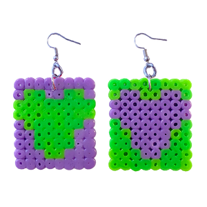 Earrings - Hearts - Green and Purple
