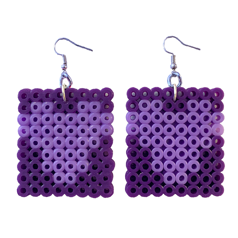 Earrings - Hearts - Purple