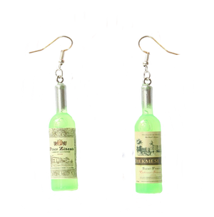 Earrings - Wine Bottle - Green