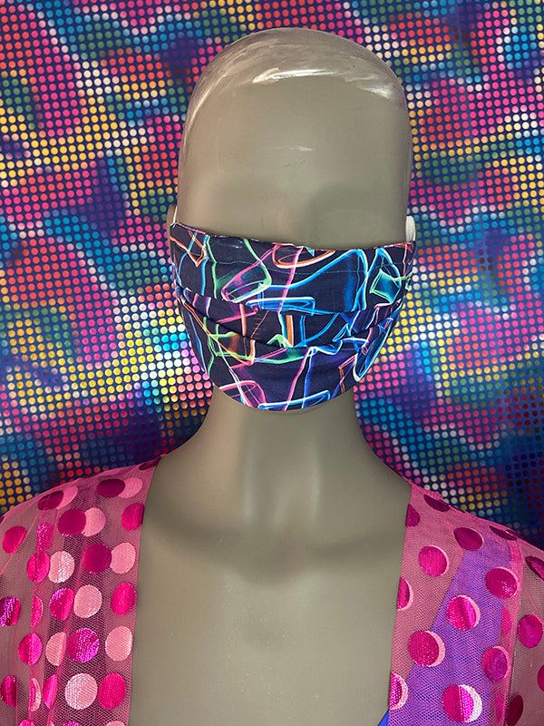FACEMASK - REVERSIBLE - Mulitcolor Swirl - Neon Chemical