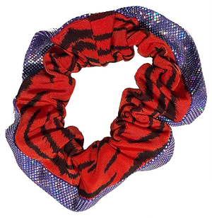 Scrunchie - Tiger Red and Purple Glitter