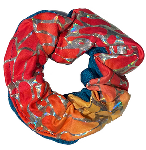 Scrunchie - Red Lightning and Blue