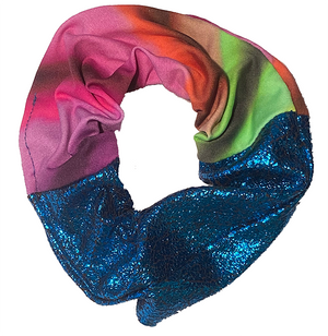 Scrunchie - Rainbow and Blue Glitter