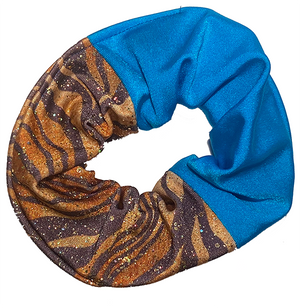 Scrunchie - Blue and Tiger Print