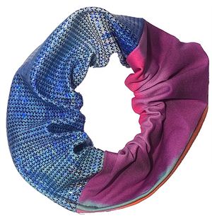 Scrunchie - White Blue Glitter and Purple